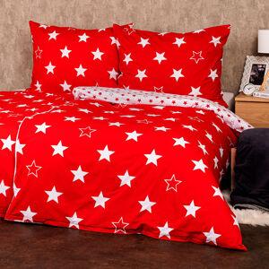 4Home Bavlněné povlečení Stars red , 220 x 200 cm, 2 ks 70 x 90 cm