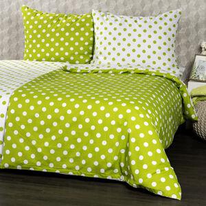 4Home Bavlněné povlečení Zelený puntík , 160 x 200 cm, 70 x 80 cm