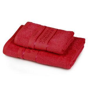 4Home Sada Bamboo Premium osuška a ručník červená, 70 x 140 cm, 50 x 100 cm