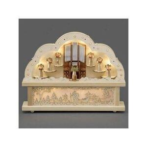 Adventní dřevěný svícen Varhany, přírodní