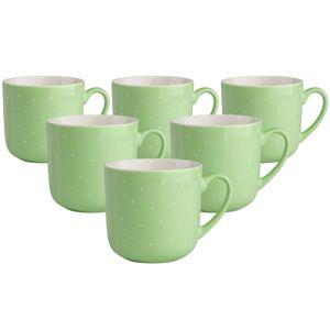 Altom Sada porcelánových hrnků Puntík 300 ml, 6 ks, zelená