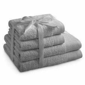 AmeliaHome Sada ručníků a osušek Amari světle šedá, 2 ks 50 x 100 cm, 2 ks 70 x 140 cm