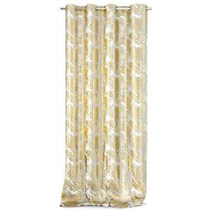AmeliaHome Závěs Velvet Golden Leaves bílá, 140 x 245 cm