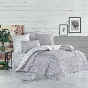 BedTex Bavlněné povlečení Flores stříbrná, 220 x 200 cm, 2 ks 70 x 90 cm