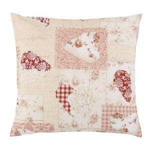 Bellatex Polštářek Ema Patchwork srdce růžová, 45 x 45 cm