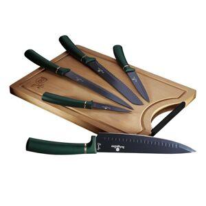 Berlinger HausSada nožů s nepřilnavým povrchem + prkénko 6 ks Emerald Collection