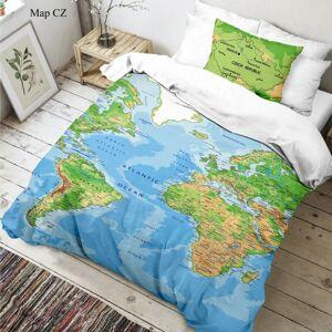 Kvalitex Dětské bavlněné povlečení Mapa světa 3D, 140 x 200 cm, 70 x 90 cm