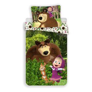 Jerry Fabrics Dětské bavlněné povlečení Máša a Medvěd Flowers, 140 x 200 cm, 70 x 90 cm
