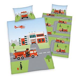 Herding Dětské bavlněné povlečení do postýlky Feuerwehr, 100 x 135 cm, 40 x 60 cm