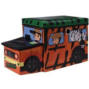Dětský úložný box a sedátko Safari bus oranžová, 55 x 26 x 31 cm