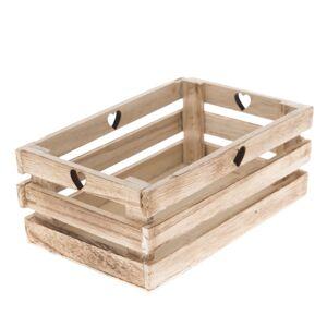 Dřevěná bedýnka Srdce 23 x 8 x 13 cm, přírodní