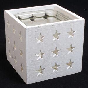 Dřevěný svícen se sklem Stars 14 x 13 cm, bílá