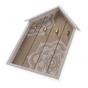 Dřevěný věšák na klíče Mandala, 4 háčky, 25 x 35 x 3,5 cm