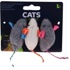 Hrací myšky pro kočky s šantou kočičí, 3 ks