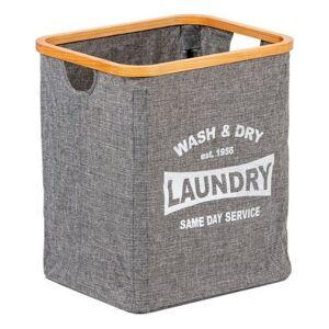 Koš na špinavé prádlo textilní se dřevem, šedá
