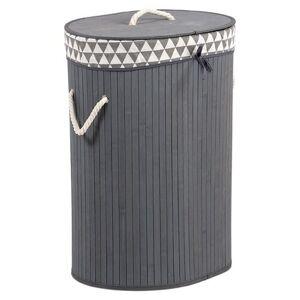 Koš na špinavé prádlo z bambusu, 38 x 51 x 28 cm, šedá
