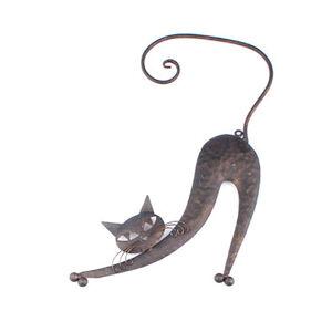 Kovová kočka na zeď hnědá, KY1510