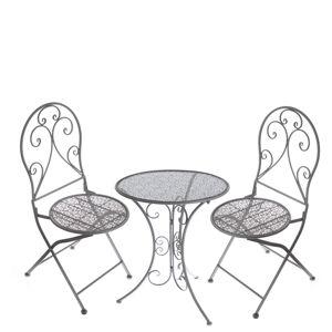 Kovový zahradní set Belveder 3 ks, šedá