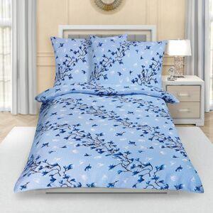 Bellatex Krepové povlečení Keřík modrá, 140 x 220 cm, 70 x 90 cm