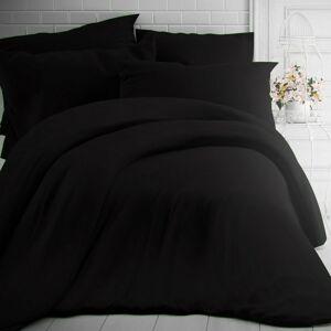 Kvalitex Bavlněné povlečení černá, 200 x 200 cm, 2 ks 70 x 90 cm