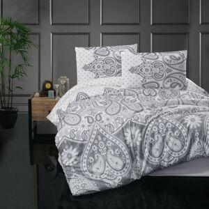 Kvalitex Flanelové povlečení Azka šedá, 140 x 220 cm, 70 x 90 cm