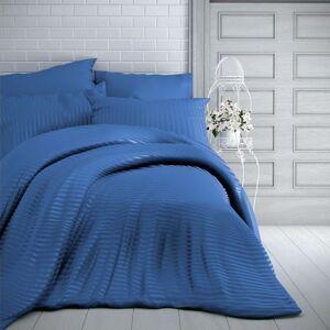 Kvalitex Saténové povlečení Stripe modrá, 240 x 220 cm, 2 ks 70 x 90 cm