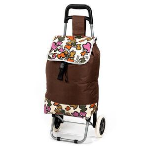 Nákupní taška na kolečkách Obrazce, hnědá