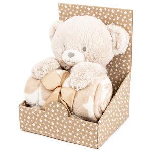 Plyšový medvídek 28 cm s fleecovou dekou 74 x 100 cm, dárkové balení