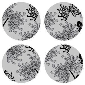 AG Art Podložka pod hrnek Flowers grey kulatá, pr. 10 cm, sada 4 ks