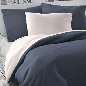 Kvalitex Saténové povlečení Luxury Collection bílá/tmavě šedá, 240 x 220 cm, 2 ks 70 x 90 cm