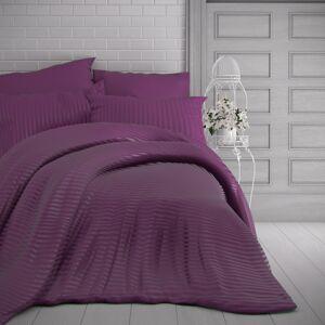 Kvalitex Saténové povlečení Stripe purpurová, 240 x 220 cm, 2 ks 70 x 90 cm