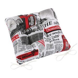Bellatex Sedák Ema prošívaný Noviny červená, 40 x 40 cm