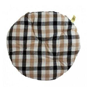 Trade Concept Sedák Kostička béžovo-černá prošívaný kulatý, 40 cm