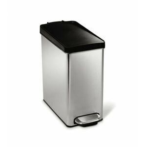 Pedálový odpadkový koš Simplehuman – 10 l, hranatý, plastové víko, matná nerez ocel