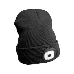 Čepice s čelovkou 45lm, nabíjecí, USB, univerzální velikost, černá SIXTOL