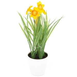 Umělá květina Narcis v květináči oranžová, 22 cm