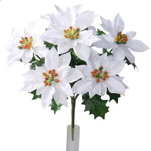 Umělá vánoční Poinsettie bílá, 30 cm