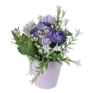 Umělé růže v květináči fialová, 21 cm