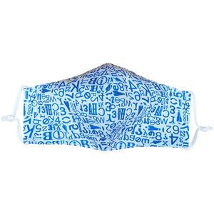 Ústní bavlněná rouška Písmenka modrá - děti 3 - 6 let, XS (3 - 6 let)