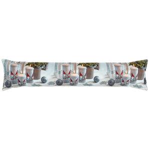 Forbyt Vánoční ozdobný těsnící LED polštář do oken Svíčky stříbrná, 85 x 18 cm