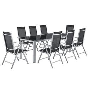 Zahradní nábytek Milano, 9-dílný, se stolem a židlemi stříbrný