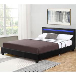Čalouněná postel Verona 120 x 200 cm s LED osvětlením v černé barvě